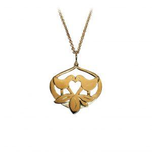 Lovebirds vedhæng forgyldt sølv, design Lene Kjølner, symbol på kærlighed