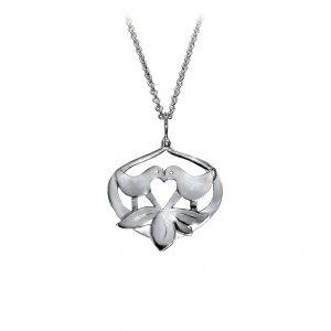 Lovebirds sølv-vedhæng, design Lene Kjølner, symbol på kærlighed og venskab
