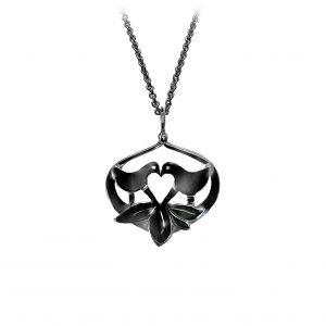 Lovebirds vedhæng sortrhodineret sølv, design Lene Kjølner, symbol for kærlighed, smykker med mening