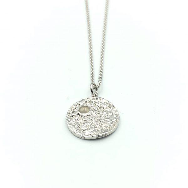 sølv-vedhæng Moon med grå månesten, to the moon and back, smykker med mening, Lene Kjølner