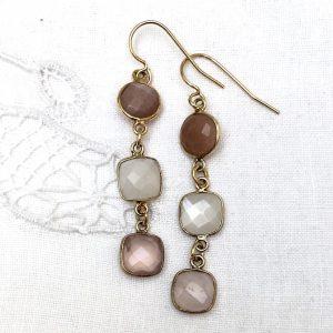 shine ørehængere med rosa sten, forgyldt sølv, design Lene Kjølner