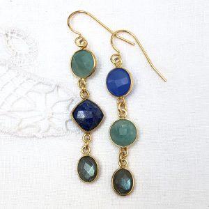 Shine ørehængere, blå-grønne sten, design Lene Kjølner
