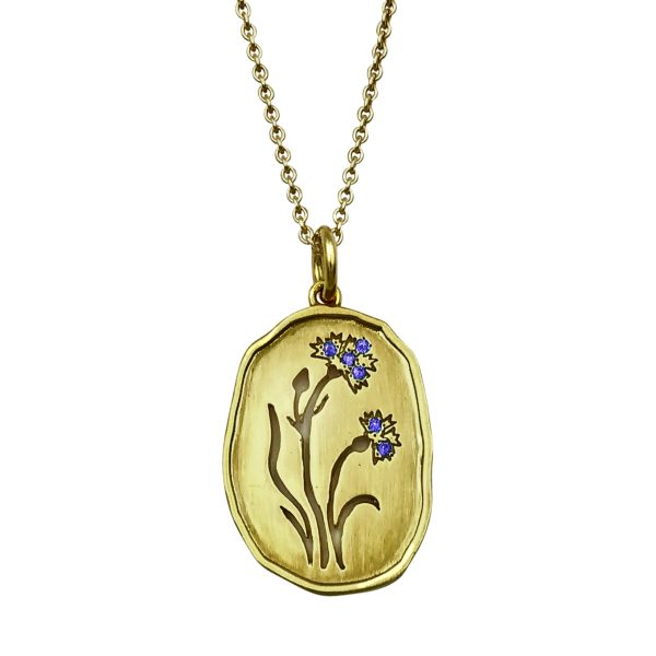 Wild Flowers, smykke-vedhæng forgyldt sølv med kornblomst, blå sten