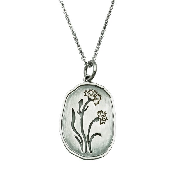 Wild Flowers, kornblomst halskæde sølv, design Lene Kjølner, smykker med mening