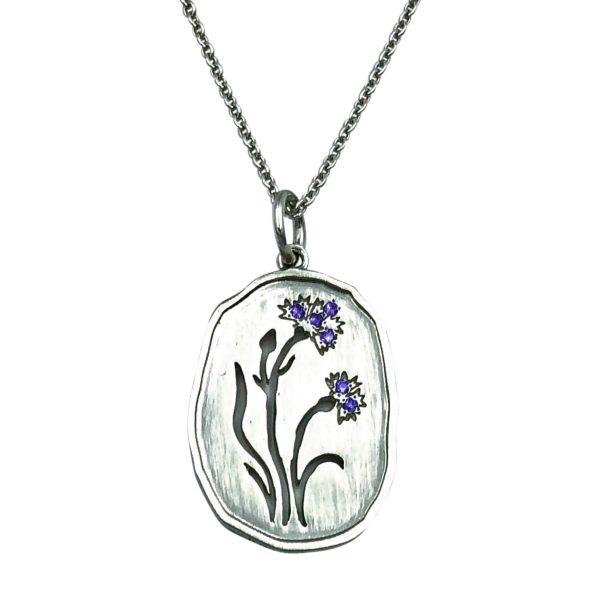 Wild Flowers, halssmykke med kornblomst, sølv, blå sten