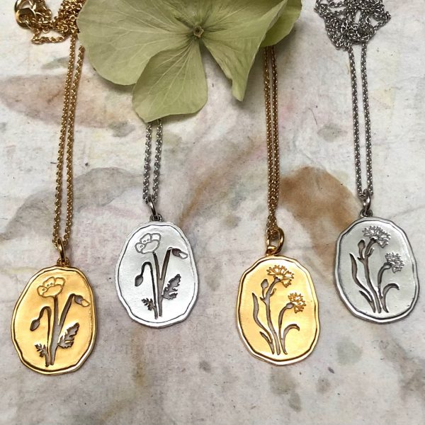 Wild Flowers smykker, valmue og kornblomst, design Lene Kjølner