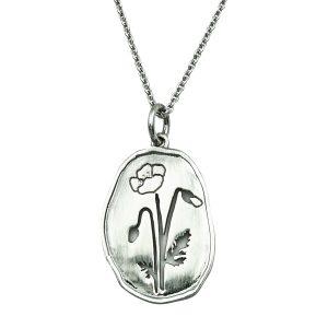 Wild Flowers smykke, vilde blomster, valmue, sølv-halskæde fra Lene Kjølner