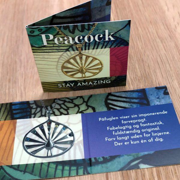 Folder til Peacock smykkeserie, poetisk og symbolsk tekst, stay amazing, design Lene Kjølner