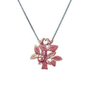 Livstræet vedhæng rosa, naivt lille træ med æble og fugle i toppen, smykke i rosaforgyldt sølv