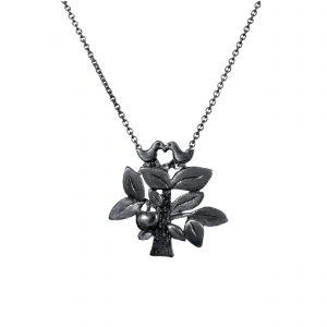 Livstræet vedhæng sort med fugle og æble, smykke i sortrhodineret sølv