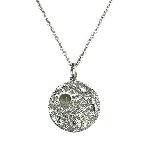 Moon vedhæng, grå månesten, sølv, to the moon and back, til dig der tør lukke de store følelser ind, design Lene Kjølner