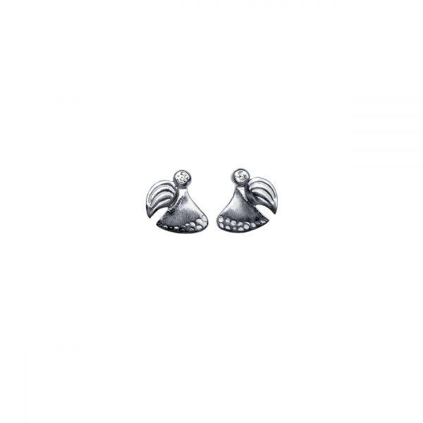 """sksytsengel ørestikker i rhodineret sølv, symbol på kærlighed og håb, med inskription """"be you"""""""