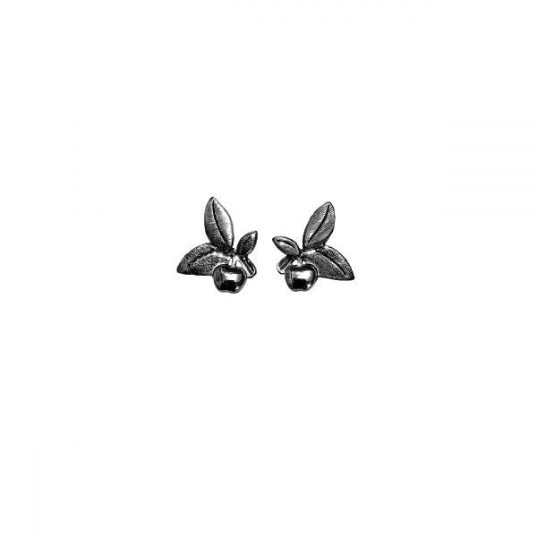 sortrhodinerede ørestikker, smykkeserien Livstræet fra Lene Kjølner