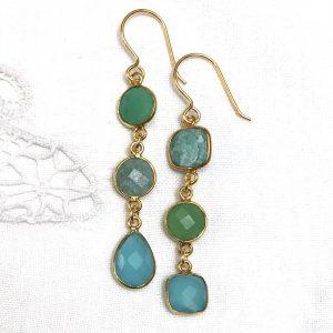 Shine ørehængere med smykkesten, blå og tyrkis