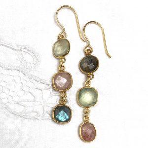 Shine ørehængere, forgyldt sølv, smykkesten, phrenit, labradorit, design Lene Kjølner,