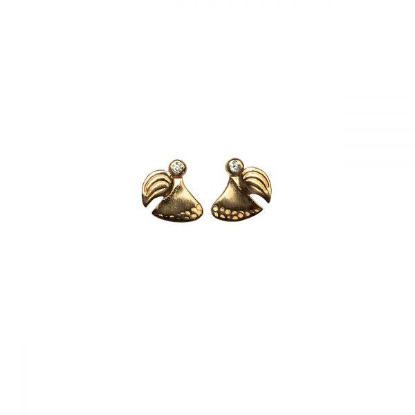 Skytsengel ørestikker i forgyldt sølv, symbol på kærlighed og omsorg, smykker med mening, design Lene Kjølner