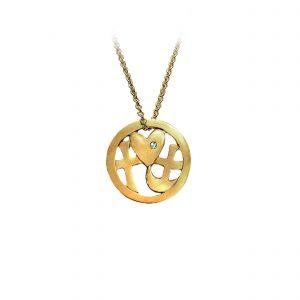 tro-håb-kærlighed smykke-vedhæng forgyldt sølv, med sten, design Lene Kjølner