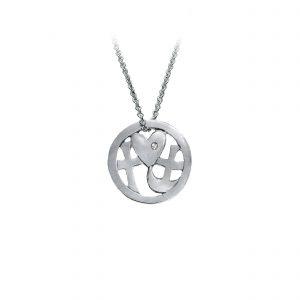 Tro-håb-kærlighed vedhæng med sten, rhodineret sølv, design Lene Kjølner, smykker med mening