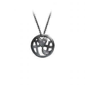 Tro-håb-kærlighed smykke-vedhæng til kæde, sortrhodineret med sten, design Lene Kjølner, smykker med mening