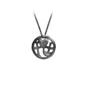 Tro-håb-kærlighed vedhæng sort, størst af alt er kærligheden, smykker med mening, design Lene Kjølner