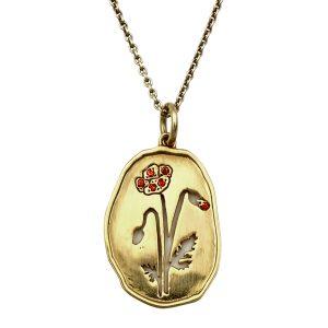 Valmue forgyldt sølv-smykke med røde sten, Wild Flowers, design Lene Kjølner