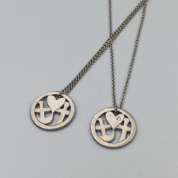 Tro-håb-kærlighed smykke, 2 forskellige versioner, med og uden sten, sterling sølv, design Lene Kjølner